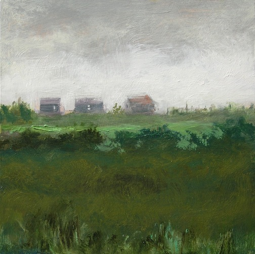 Three Cottages on the Hill 16x16